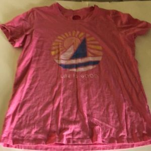 Life is good pink sail boat shirt sz medium 6 8